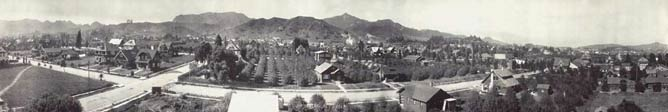 A vintage photo of early Hollywood looking north toward the Santa Monica Mountains.